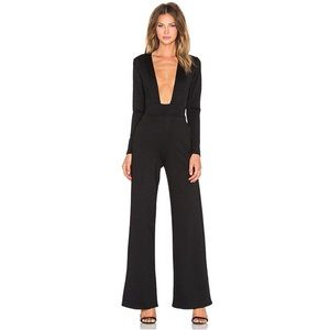 Revolve Twin Sister Plunge Front Jumpsuit in Black